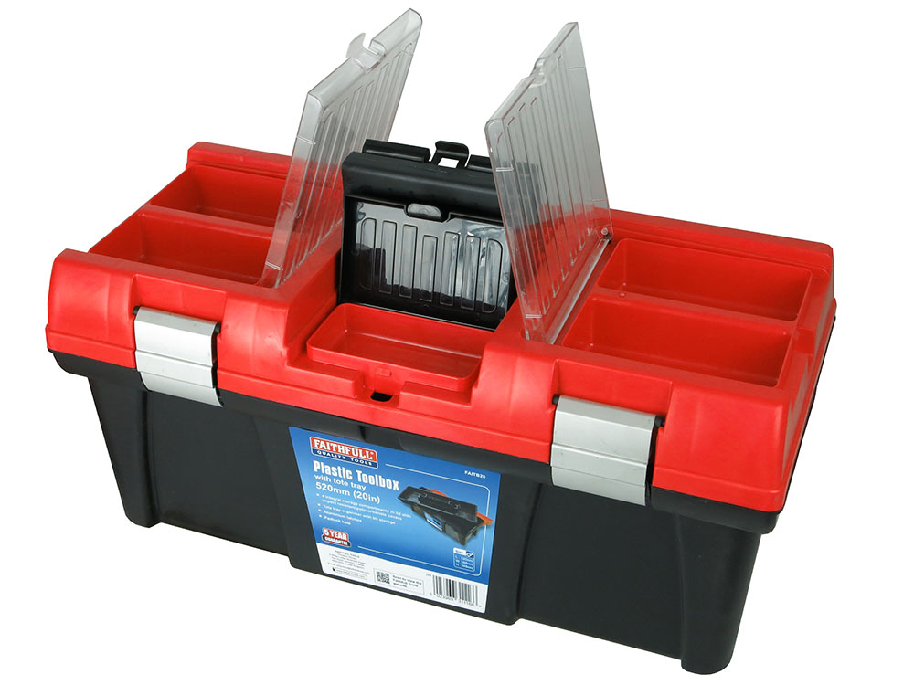 5 Tray Faithfull Metal Cantilever Tool Box 40cm 17in